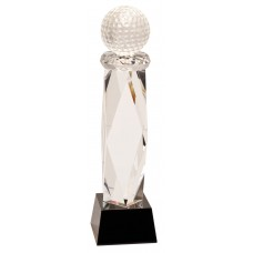 11 inch Crystal Golf Ball on Facet Column w/Black Base